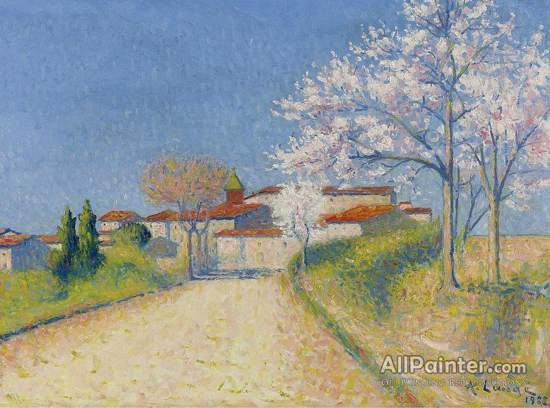 achille lauge almond trees blooming near cailhau oil painting