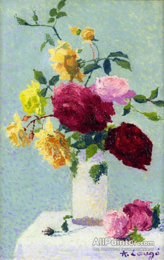 Achille Lauge Bouquet Of Roses In A Vase Oil Painting Reproductions