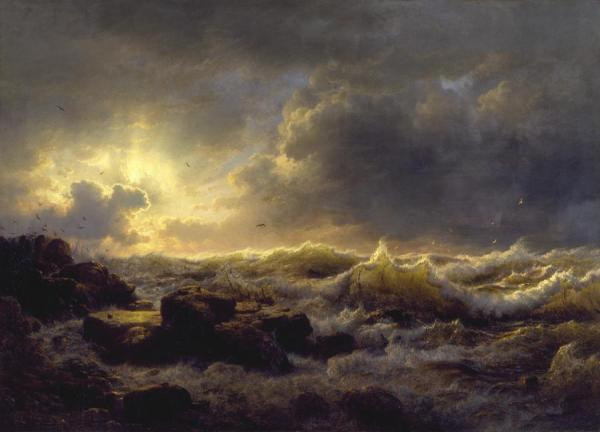 Clearing Up, Coast Of Sicily by Andreas Achenbach Oil Painting Reproductions