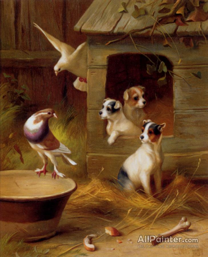 Edgar Hunt Pigeons And Puppies Oil Painting Reproductions For Sale