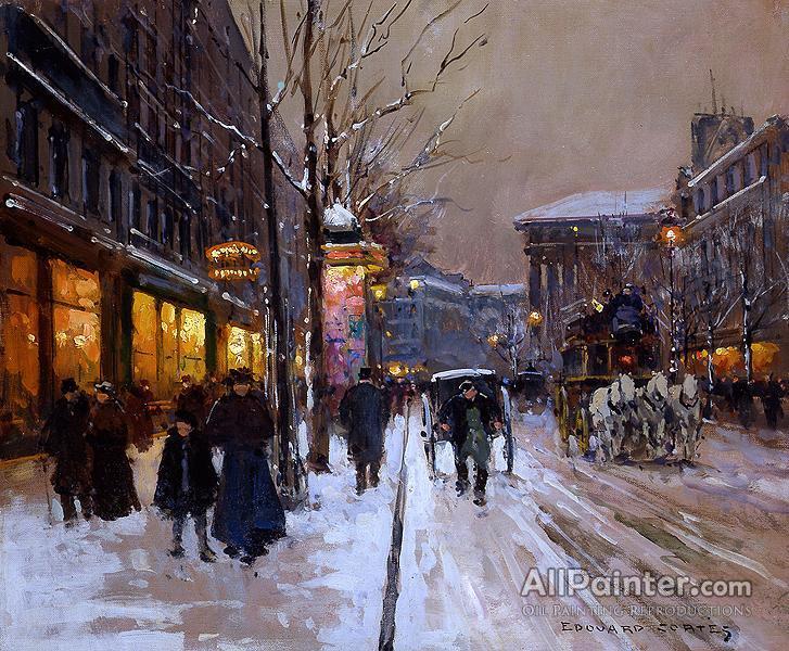 Edouard Léon Cortes paintings for sale:Boulevard De La Madeleine, Winter