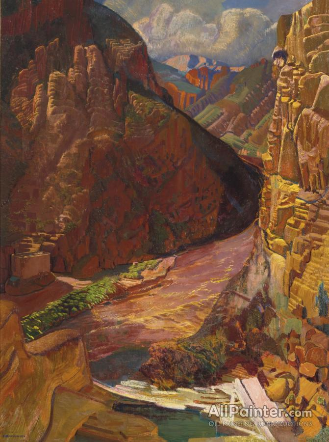 Ernest Leonard Blumenschein paintings for sale:Arizona Dam, Red Symphony, Arizona Canyon