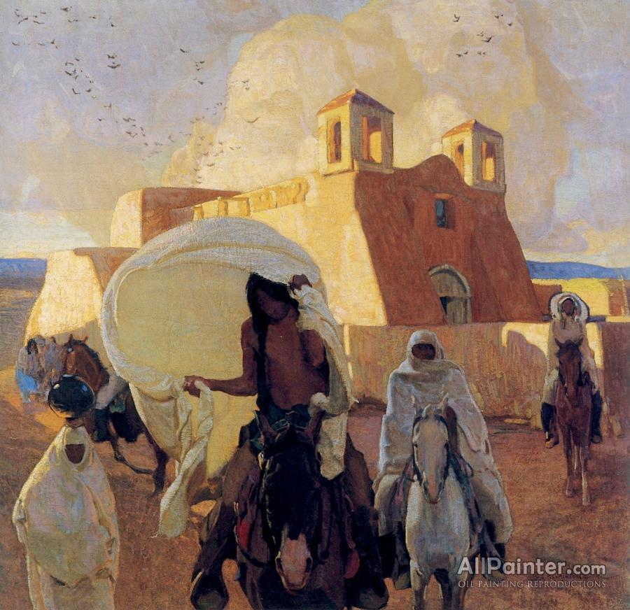 Ernest Leonard Blumenschein paintings for sale:Church At Ranchos De Taos