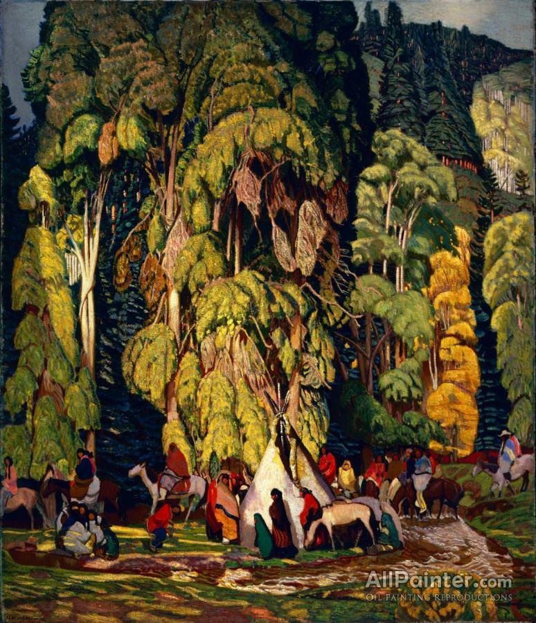 Ernest Leonard Blumenschein paintings for sale:Landscape With Indian Camp, 1920