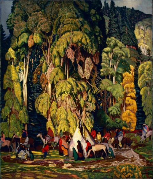 Landscape With Indian Camp, 1920 by Ernest Leonard Blumenschein Oil Painting Reproductions