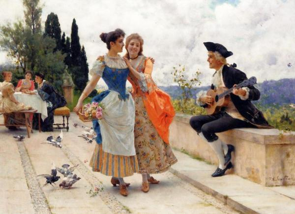 The Serenade by Federico Andreotti Oil Painting Reproductions