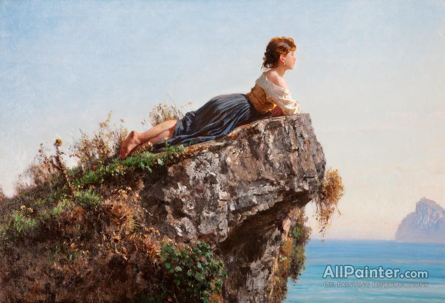 Filippo Palizzi paintings for sale:Fanciulla Sulla Roccia A Sorrento