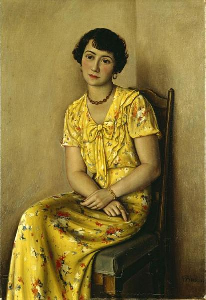 Young Girl In Yellow by Francois Emile Barraud Oil Painting Reproductions