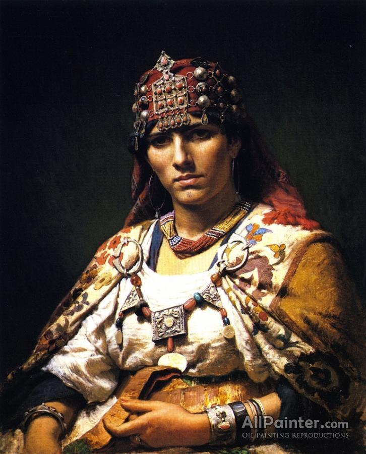 Frederick Arthur Bridgman paintings for sale:Aicha, Woman Of The Kabylia Mountains