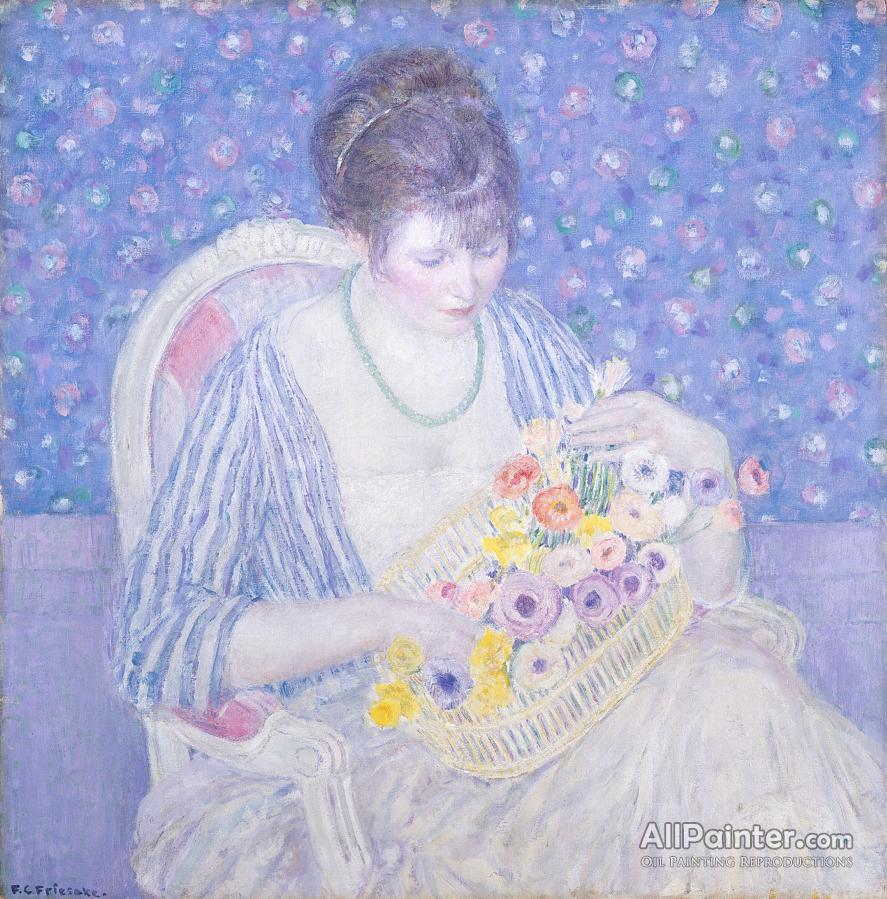 Frederick Carl Frieseke paintings for sale:The Basket Of Flowers, C. 1913-1917