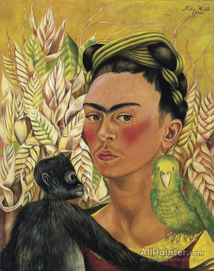 Frida Kahlo Self Portrait With Monkey And Parrot Autorretrato Con