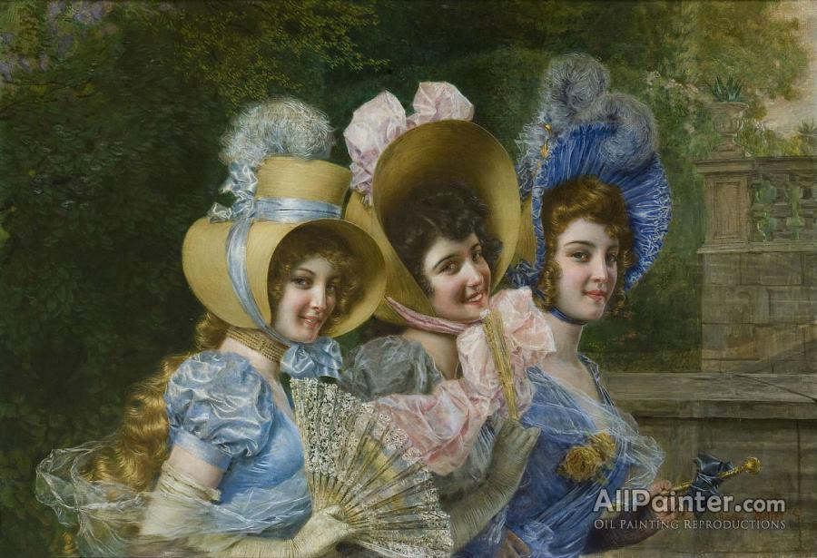 Gaetano Bellei paintings for sale:Three Elegant Ladies