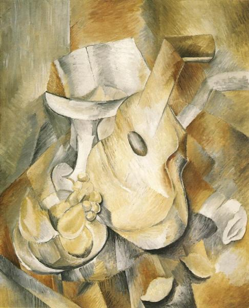 Guitar And Fruit Dish by Georges Braque Oil Painting Reproductions