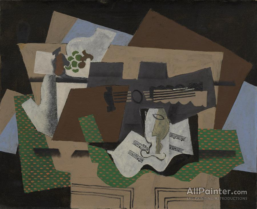 Georges Braque paintings for sale:Guitar, Glass, And Fruit Dish On Sideboard, 1919