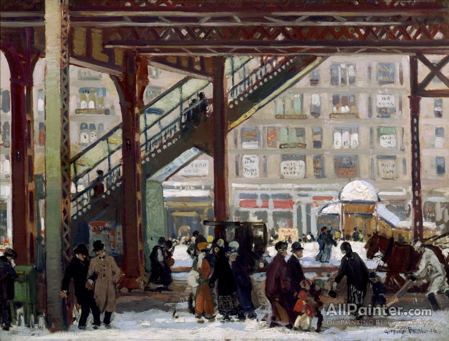 Gifford Beal paintings for sale:Elevated, Columbus Avenue, New York, 1916