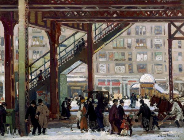 Elevated, Columbus Avenue, New York, 1916 by Gifford Beal Oil Painting Reproductions