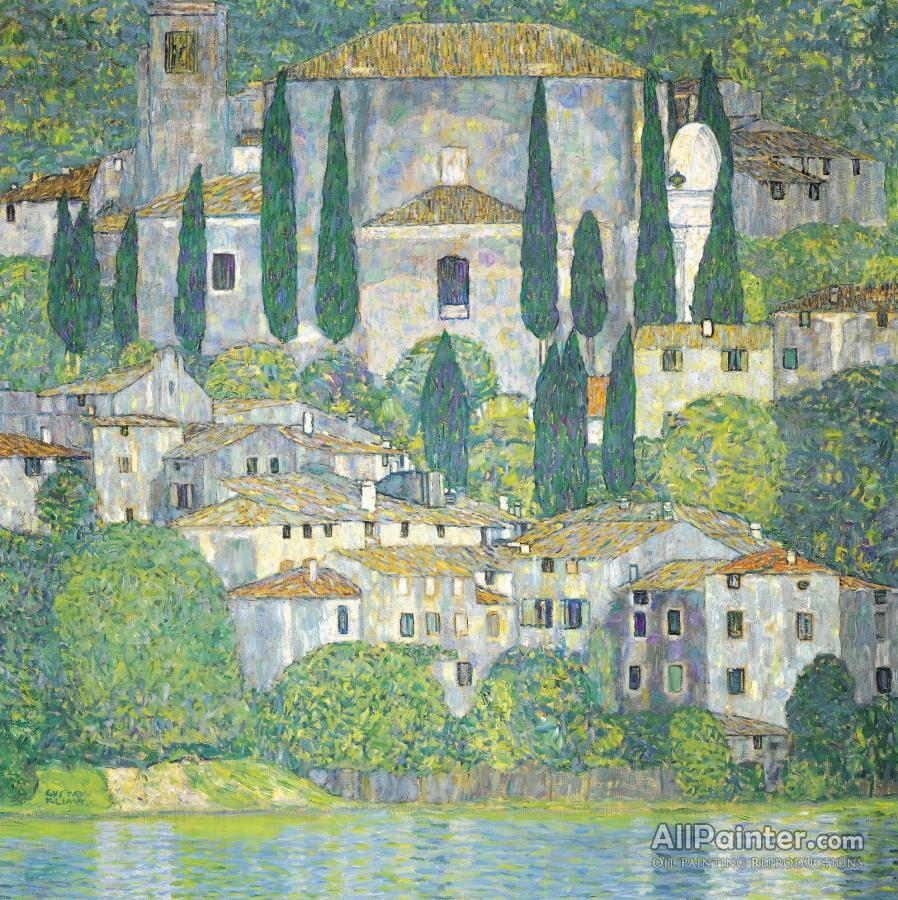 Gustav Klimt paintings for sale:Chruch In Cassone,landscape With Cypresses