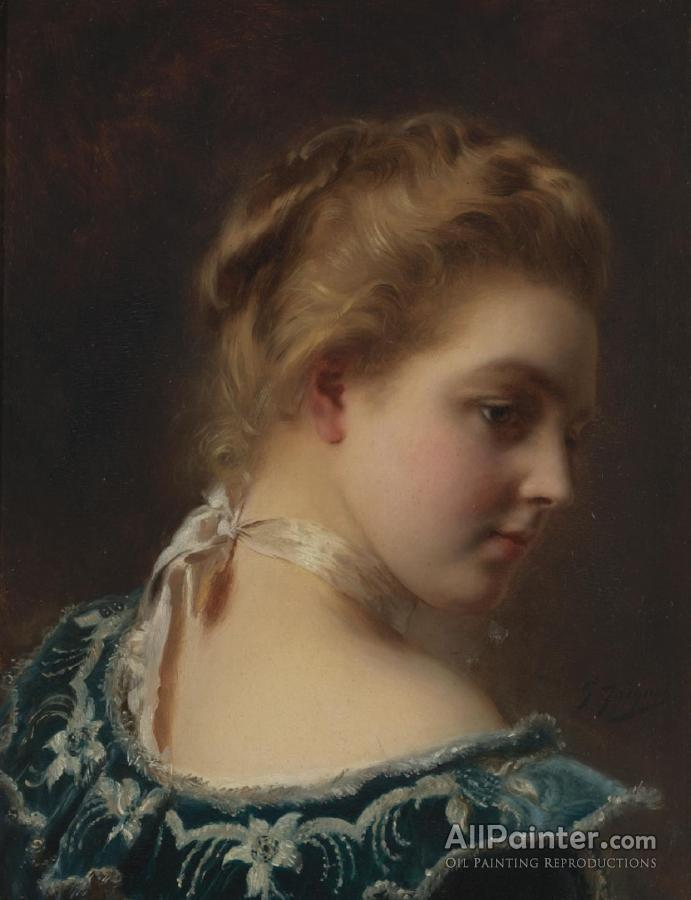 Gustave Jean Jacquet Young Beauty In A Green Dress Oil Painting ...