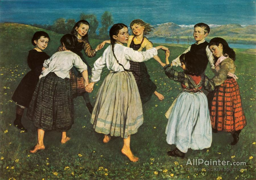 Hans Thoma paintings for sale:Children Dancing