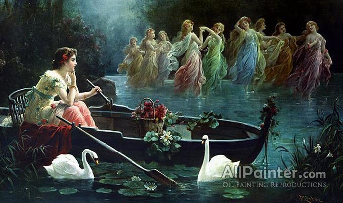 Hans Zatzka paintings for sale:Maiden And Mermaids