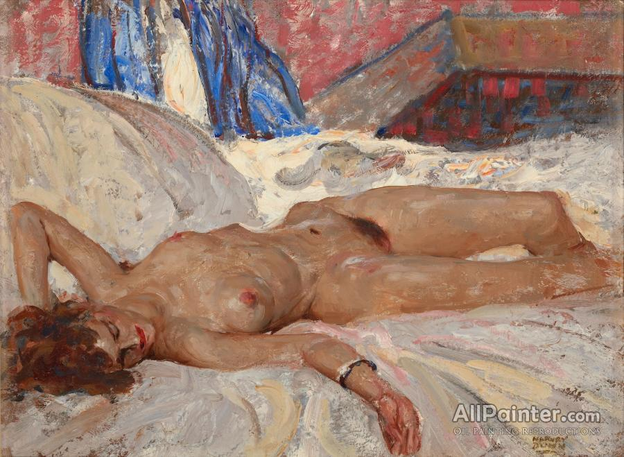 Large orientalist painting of a reclining nude by costa