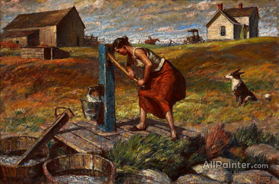 Harvey Dunn paintings for sale:Woman At The Pump
