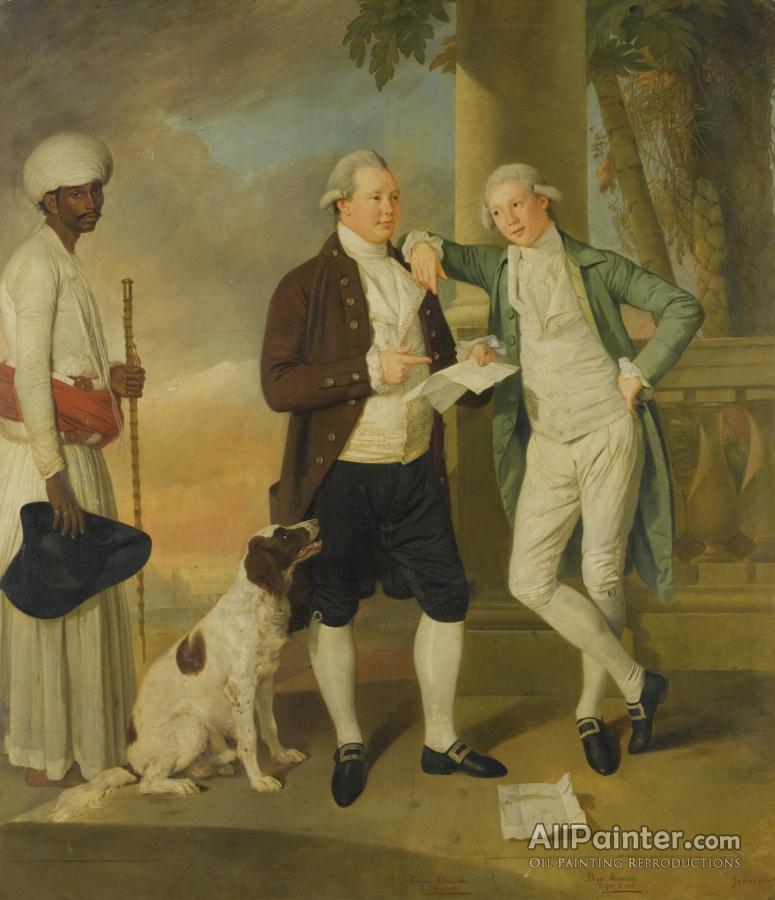 Johan Joseph Zoffany paintings for sale:Portrait Of Claud Alexander (1752-1809), With His Brother Boyd, Attended By An Indian Servant