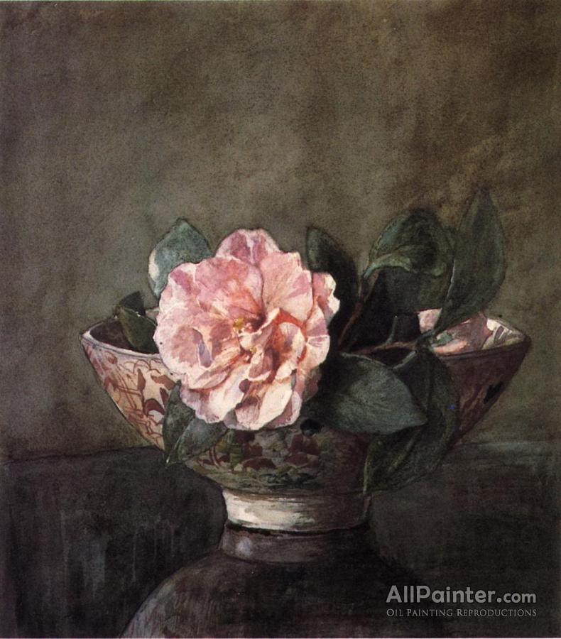 John Lafarge Camellia In Old Chinese Vase On Black Lacquer Table Oil