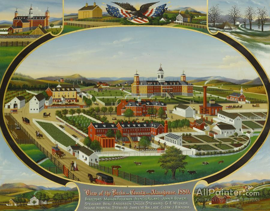 John Rasmussen paintings for sale:View Of The Berks County Alms House