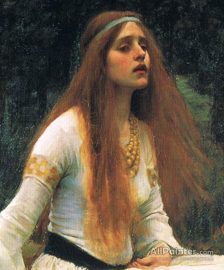 John William Waterhouse paintings for sale:The Lady Of Shalott (detail-top)
