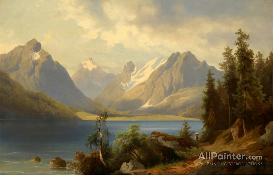 Josef Thoma paintings for sale:Mountain Landscape - Josef Thoma Mountain Landscape Oil Painting Reproductions For Sale