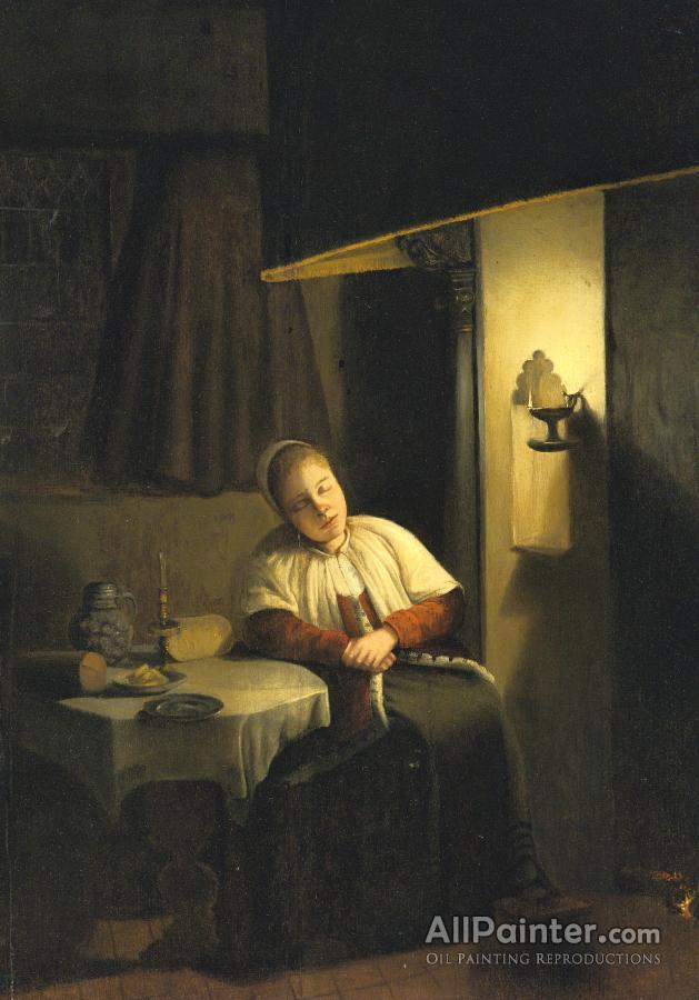 Seated Lady In An Interior By Candlelight