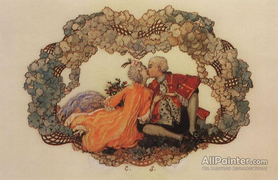Konstantin Somov The Kiss Oil Painting Reproductions For Sale