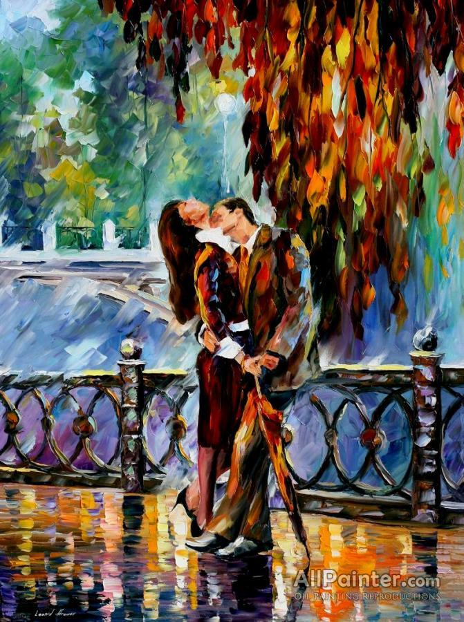Leonid Afremov Kiss After The Rain Oil Painting Reproductions For