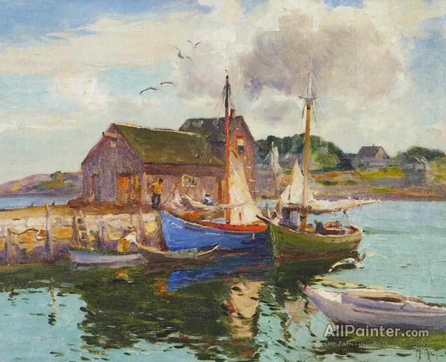 Mathias Joseph Alten paintings for sale:Harbor Reflection Rockport, Massachusetts