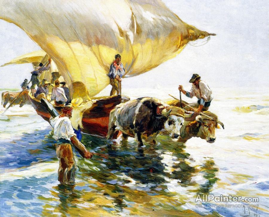 Mathias Joseph Alten paintings for sale:Hauling In The Sardine Boat