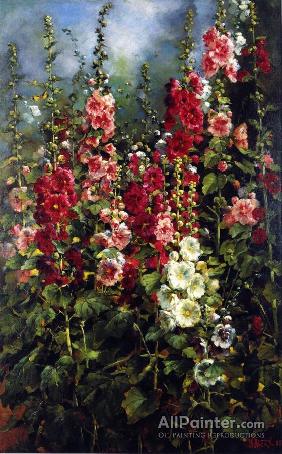 Mathias Joseph Alten paintings for sale:Hollyhocks