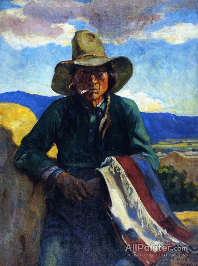 Mathias Joseph Alten paintings for sale:Smoking Apache, Taos, New Mexico