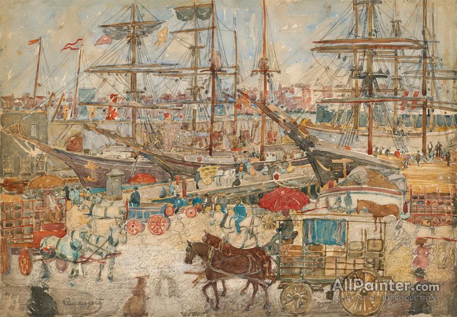 Maurice Brazil Prendergast paintings for sale:Docks, East Boston