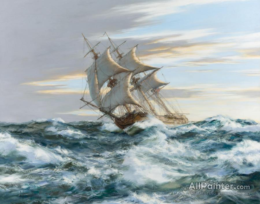 Montague Dawson paintings for sale:The Gallant Privateer The U.s.s. Rattlesnake