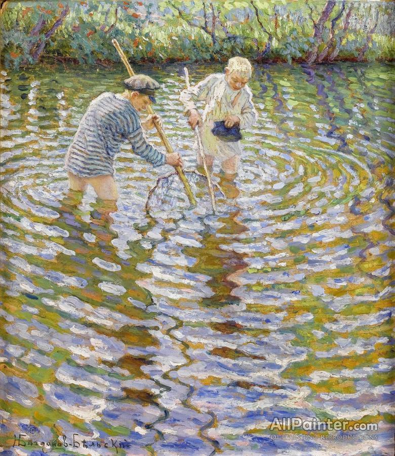 Nikolai Petrovich Bogdanov-belsky paintings for sale:Boys Fishing