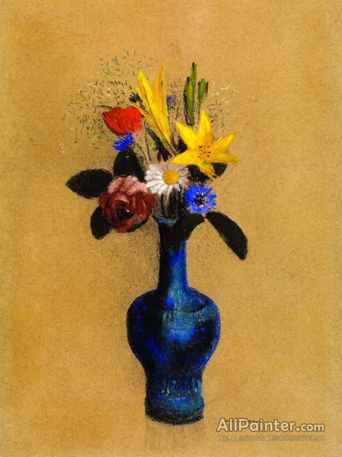 Odilon Redon Bouquet Of Flowers In A Blue Vase Oil Painting