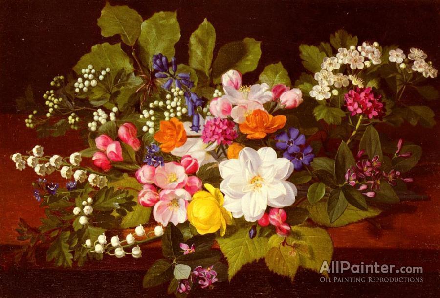 Otto Didrik Ottesen A Bouquet Of Spring Flowers On A Ledge Oil
