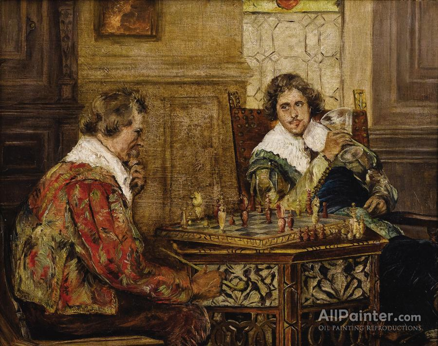 P.h. Andreis paintings for sale:Cavaliers Playing Chess, C. 1890
