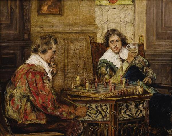 Cavaliers Playing Chess, C. 1890 by P.h. Andreis Oil Painting Reproductions