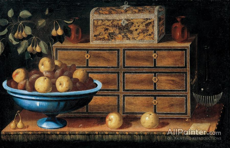 Pedro De Camprobin Writing Desk With A Small Chest And A Fruit Bowl
