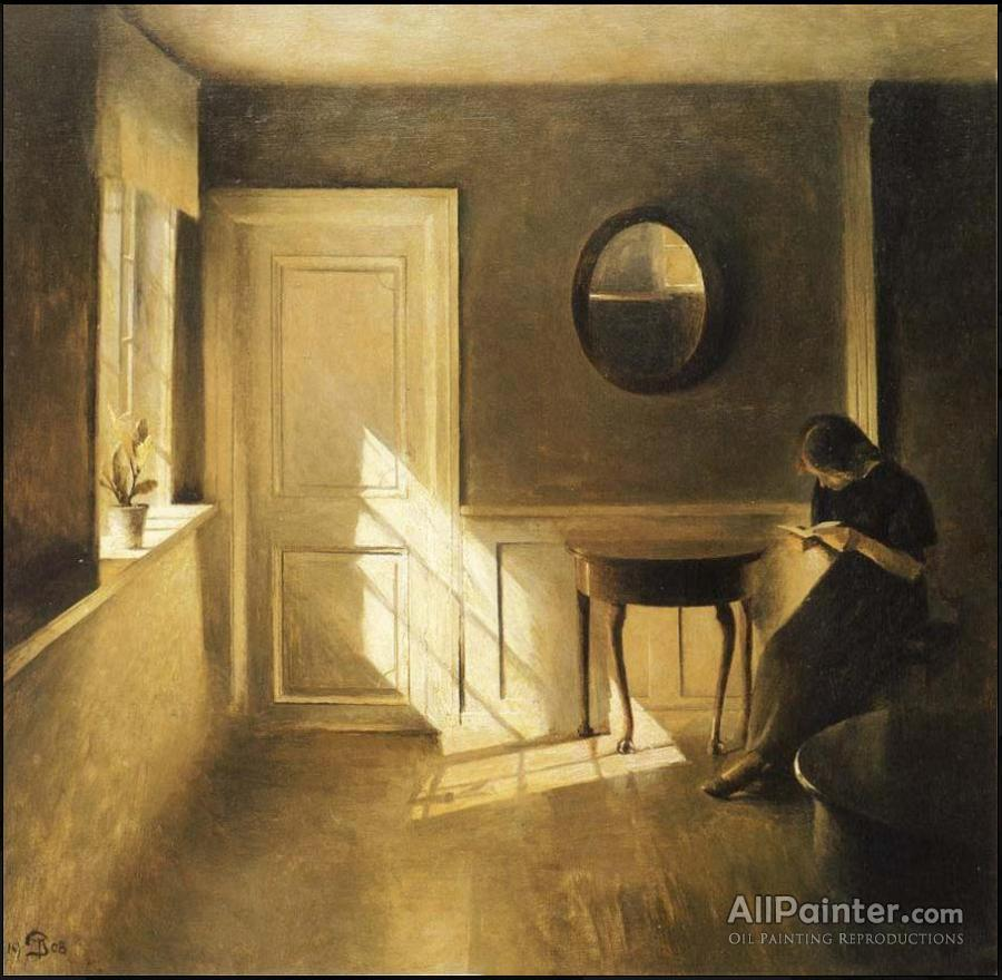 Peter Ilsted Paintings For Reading A Letter In An Interior