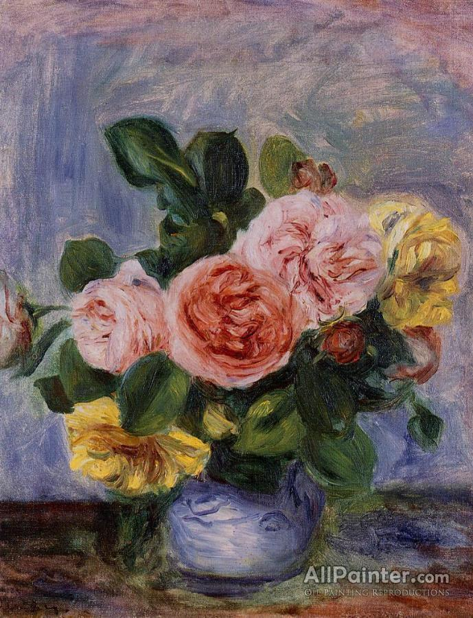 Pierre Auguste Renoir Roses In A Vase Oil Painting Reproductions For
