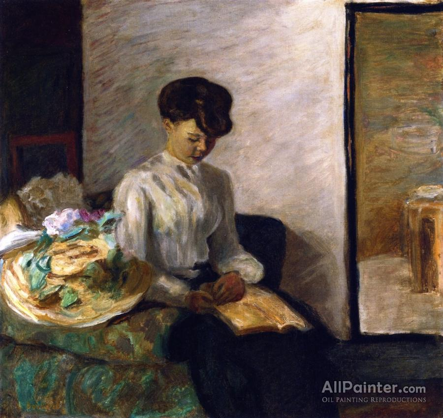 Pierre Bonnard paintings for sale:Young Woman Reading, Flowered Hat