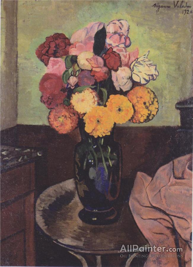 Suzanne Valadon Flower Vase On A Round Table Oil Painting